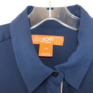 Joe Fresh Tops - 💘 Joe Fresh Navy Blue Chiffon Button Down Large L